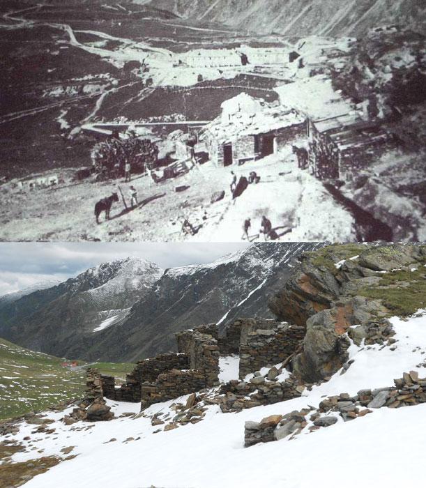 Guerra Bianca: baraccamenti al Laghetto Alto (Stelvio) ieri e oggi